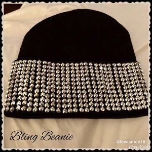 Women's Bling Beanie Black & Silver